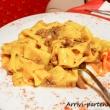 Fettuccine alla boscaiola presso un ristorante di Arabba, Veneto