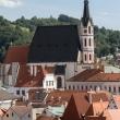 Vista panoramica del centro storico di Cesky Krumlov, Repubblica Ceca