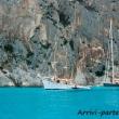 Imbarcazioni a vela presso il Golfo di Orosei, Sardegna