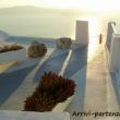 Tramonto ad Oia sull'isola di Santorini, Grecia