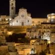 Vista notturna della Cattedrale della Madonna della Bruna e di Sant'Eustachio, Matera