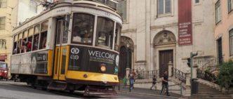 Tram per le strade di Lisbona, Portogallo