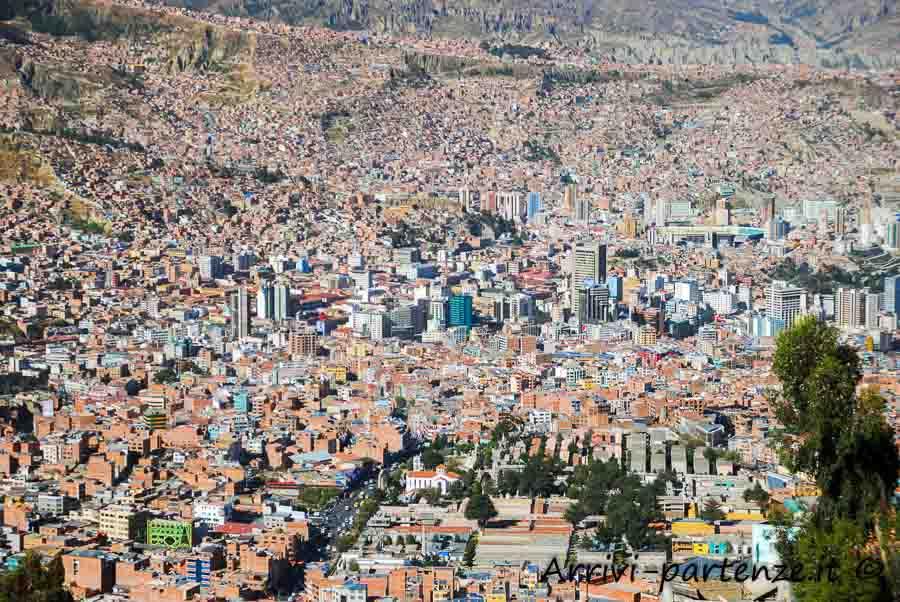Vista dall'alto di La Paz, Bolivia