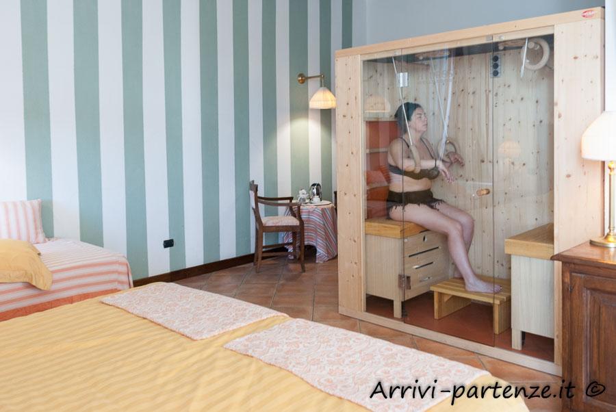 Sauna privata in camera del Tenimento Al Castello di Sillavengo, Novara