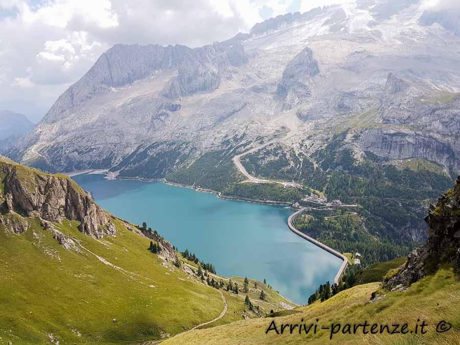 Vista del Lago Fedaia e della Marmolada dal Porta Vescovo, Veneto