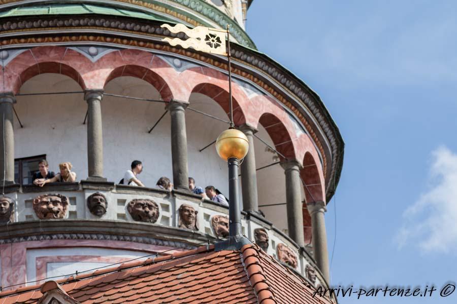 Torre del castello di Cesky Krumlov in Repubblica Ceca