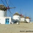 Mulini lungo la costa di Mykonos, Grecia