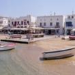 Presso il porto di Mykonos, Grecia