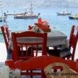 Ristorante nei pressi della baia di Ammoudi sull'isola di Santorini, Grecia