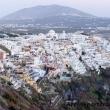 Tramonto su Fira da Phirostefani sull'isola di Santorini, Grecia