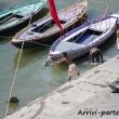 Barche sul Gange a Varanasi, Uttar Pradesh, India