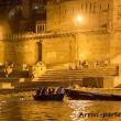 I Ghat di Varanasi alla sera, Uttar Pradesh, India