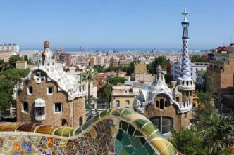 Parc Guell Gaudi a Barcellona, Spagna