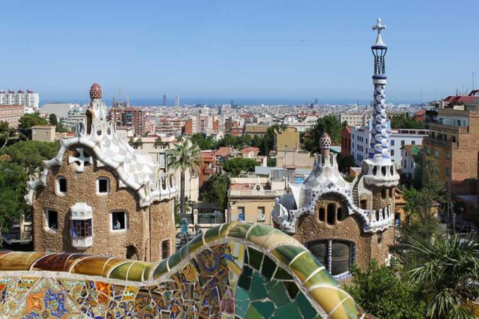 Parc Guell Gaudi a Barcellona, Spagna
