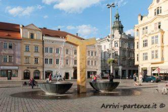 Facciata di palazzi storici a Pilsen, Repubblica Ceca