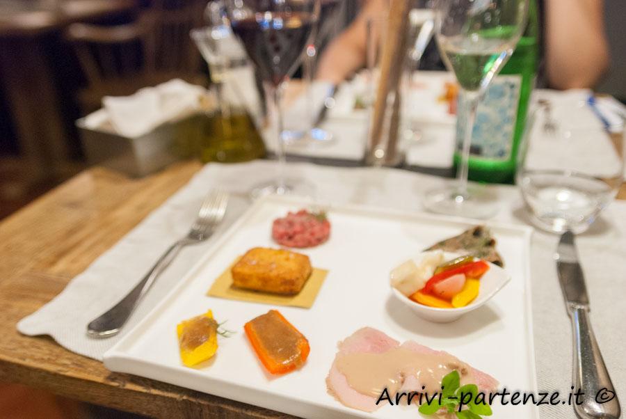 Antipasto misto presso il ristorante Q33 del Tenimento Al Castello di Sillavengo, Novara