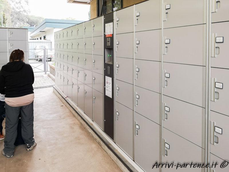 Deposito bagagli presso la biglietteria degli scavi di Pompei